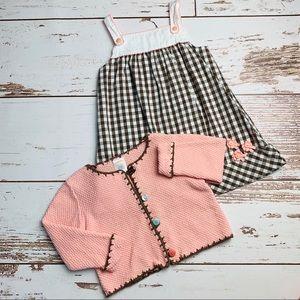 GYMBOREE Brown Gingham Dress & Sweater Set 12-18 M